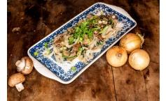 Fettuccine in Spinat-Pilz-Soße